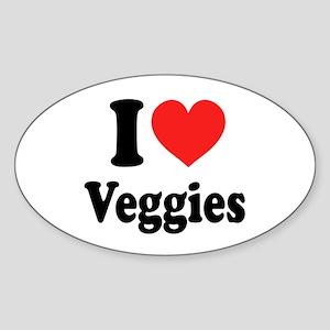 I Love Veggies: Sticker (Oval)