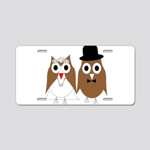 Wedding Owls Aluminum License Plate