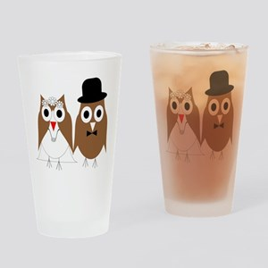 Wedding Owls Drinking Glass