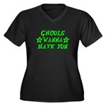 Ghouls Wanna Have Fun Green Women's Plus Size V-Ne