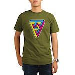 CMYK Triangle Organic Men's T-Shirt (dark)