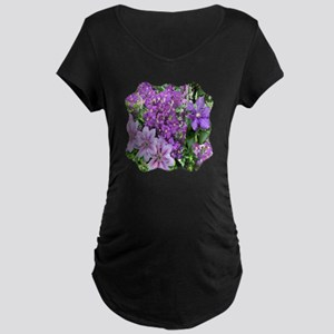 Purple and Pink Clematis Maternity Dark T-Shirt