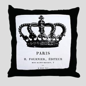 PARIS CROWN Throw Pillow