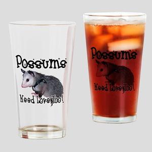 Possums Need Love Drinking Glass