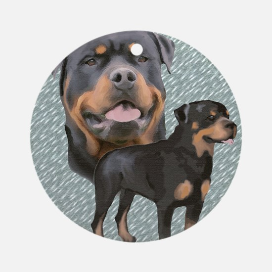 Two Rotties Ornament (Round)