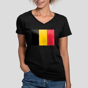 Belgium Women's V-Neck Dark T-Shirt