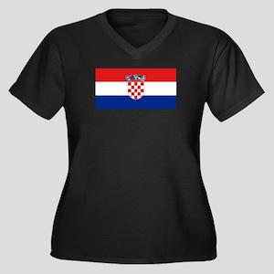 Croatia Women's Plus Size V-Neck Dark T-Shirt