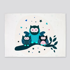 Cute Owl Family On Tree Branch 5'x7'Area Rug