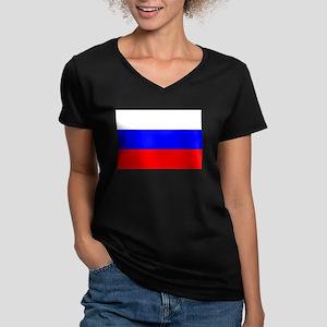 Russia Women's V-Neck Dark T-Shirt