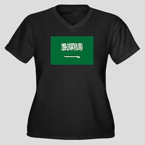 Saudi Arabia Women's Plus Size V-Neck Dark T-Shirt