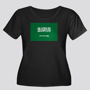 Saudi Arabia Women's Plus Size Scoop Neck Dark T-S