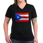 Puerto Rico Women's V-Neck Dark T-Shirt