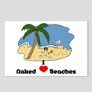 I Love Naked Beaches Postcards (Package of 8)