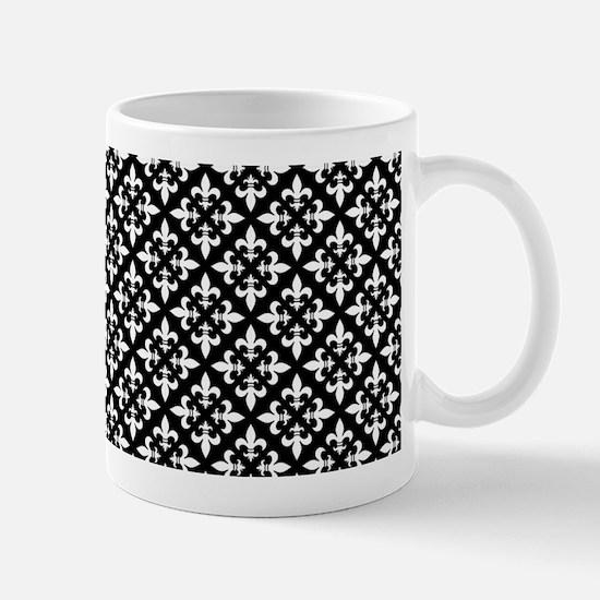 Black and White Fleur de Lis Pattern Mugs