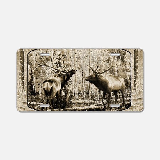 Bull elk face off Aluminum License Plate