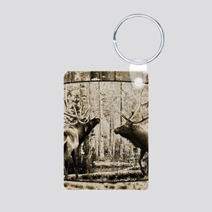 Bull elk face off Aluminum Photo Keychain
