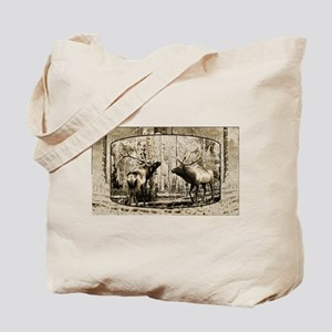 Bull elk face off Tote Bag