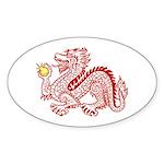 Red Dragon Oval Sticker
