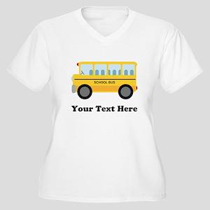 School Bus Personalized Women's Plus Size V-Neck T