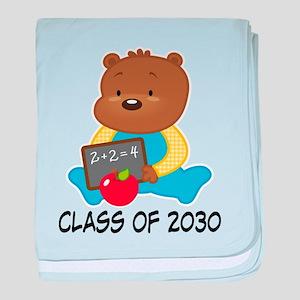 Cute Scholar Bear Class of 2030 baby blanket