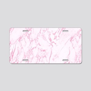 Pink Marble Aluminum License Plate