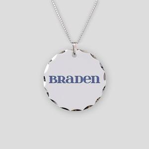 Braden Blue Glass Necklace Circle Charm