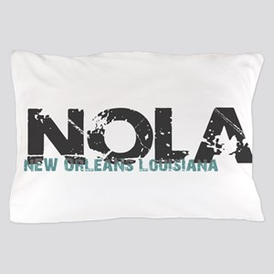 NOLA New Orleans Turquoise Gray Pillow Case