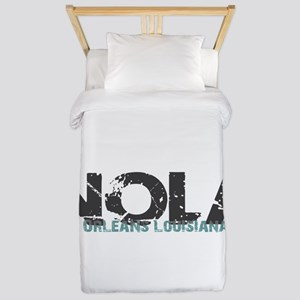 NOLA New Orleans Turquoise Gray Twin Duvet Cover
