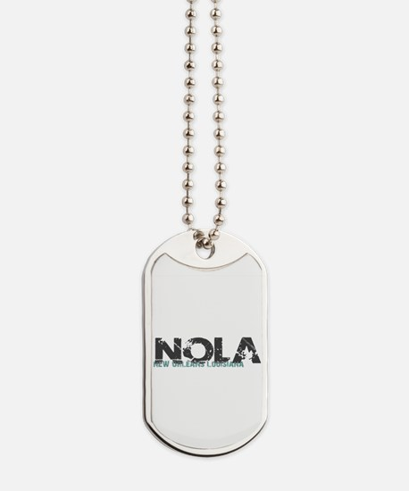 NOLA New Orleans Turquoise Gray Dog Tags