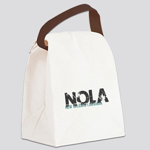 NOLA New Orleans Turquoise Gray Canvas Lunch Bag