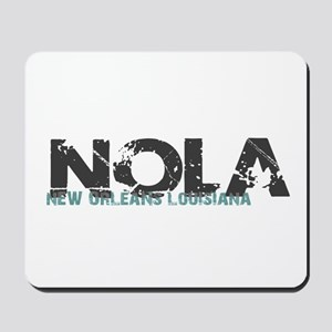 NOLA New Orleans Turquoise Gray Mousepad