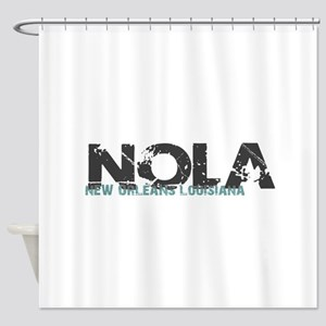 NOLA New Orleans Turquoise Gray Shower Curtain