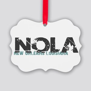 NOLA New Orleans Turquoise Gray Picture Ornament