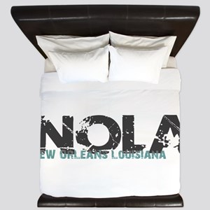 NOLA New Orleans Turquoise Gray King Duvet