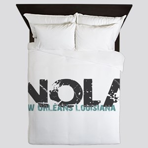 NOLA New Orleans Turquoise Gray Queen Duvet