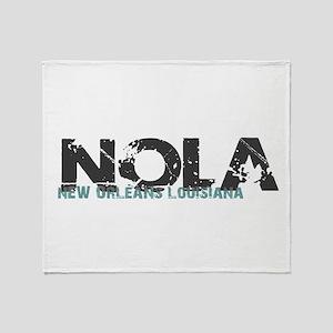 NOLA New Orleans Turquoise Gray Throw Blanket
