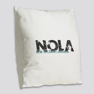 NOLA New Orleans Turquoise Gra Burlap Throw Pillow