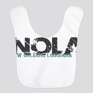 NOLA New Orleans Turquoise Gray Polyester Baby Bib