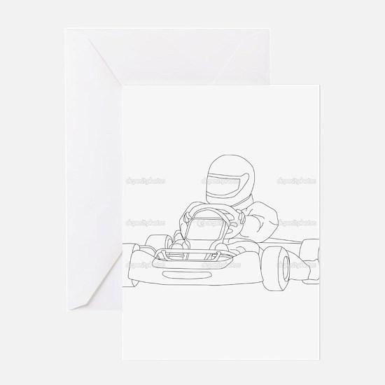 Cute Go kart racing Greeting Card