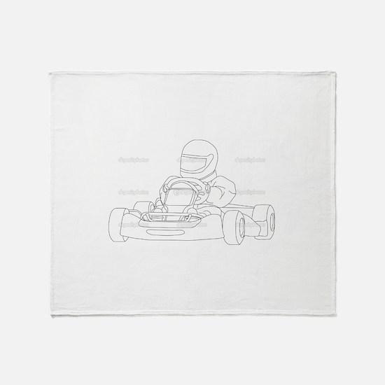 Cute Go kart racing Throw Blanket
