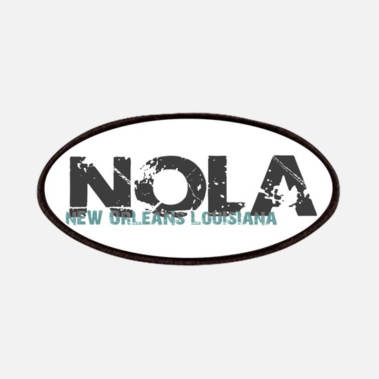 NOLA New Orleans Turquoise Gray Patch