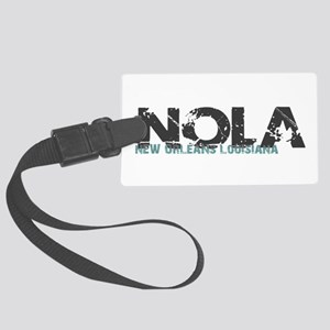 NOLA New Orleans Turquoise Gray Large Luggage Tag
