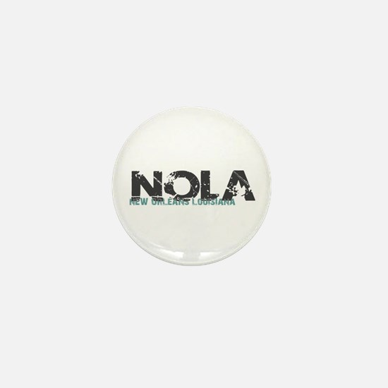 NOLA New Orleans Turquoise Gray Mini Button