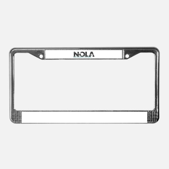 NOLA New Orleans Turquoise Gra License Plate Frame