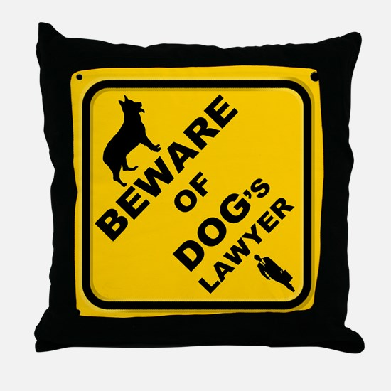 Unique Beware of dog sign Throw Pillow