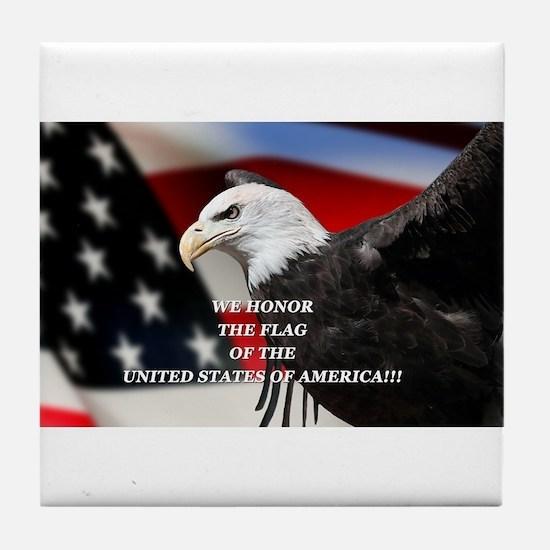 Cute Eagle flag Tile Coaster
