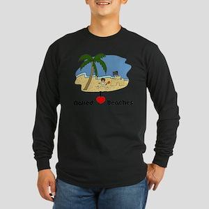 I Love Naked Beaches Long Sleeve Dark T-Shirt