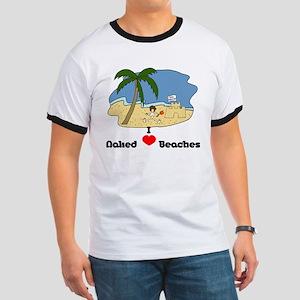 I Love Naked Beaches Ringer T