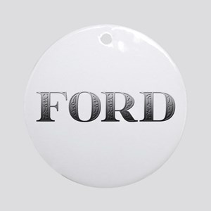 Ford Carved Metal Round Ornament