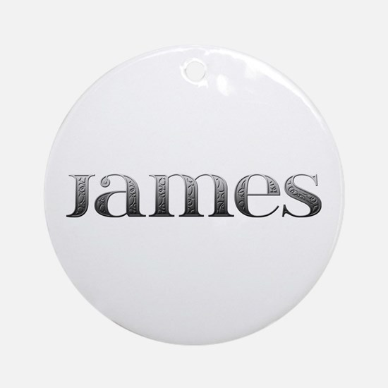 James Carved Metal Round Ornament